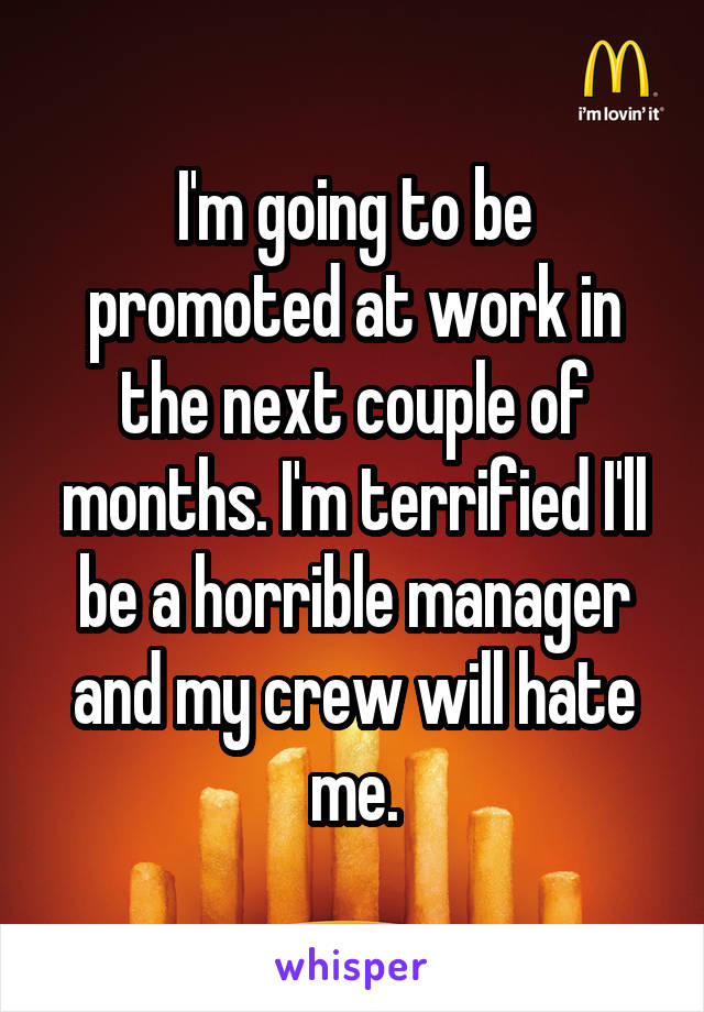 I'm going to be promoted at work in the next couple of months. I'm terrified I'll be a horrible manager and my crew will hate me.