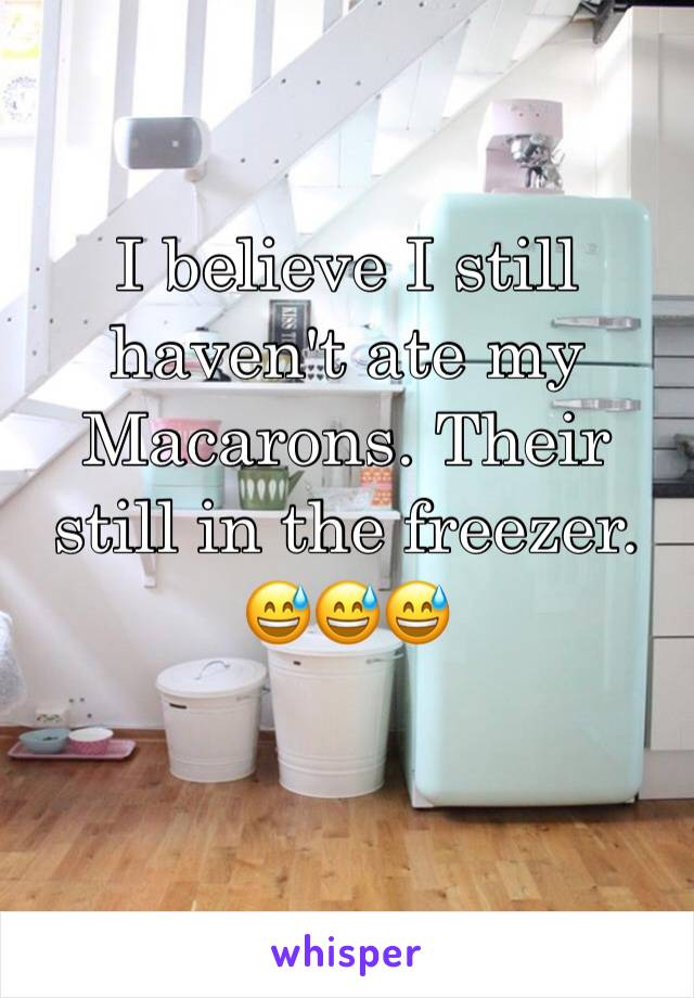 I believe I still haven't ate my Macarons. Their still in the freezer.  😅😅😅
