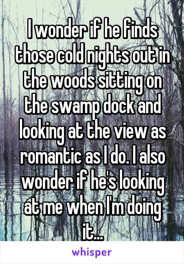 I wonder if he finds those cold nights out in the woods sitting on the swamp dock and looking at the view as romantic as I do. I also wonder if he's looking at me when I'm doing it...