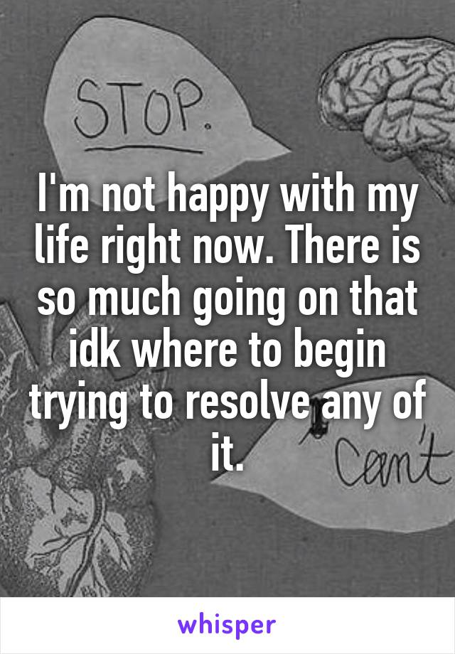I'm not happy with my life right now. There is so much going on that idk where to begin trying to resolve any of it.