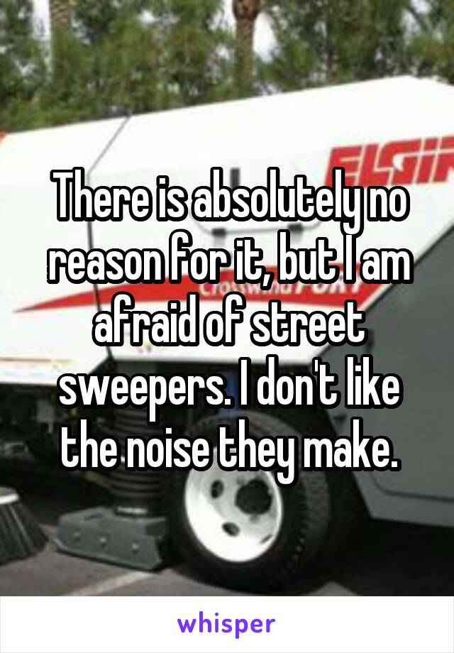 There is absolutely no reason for it, but I am afraid of street sweepers. I don't like the noise they make.