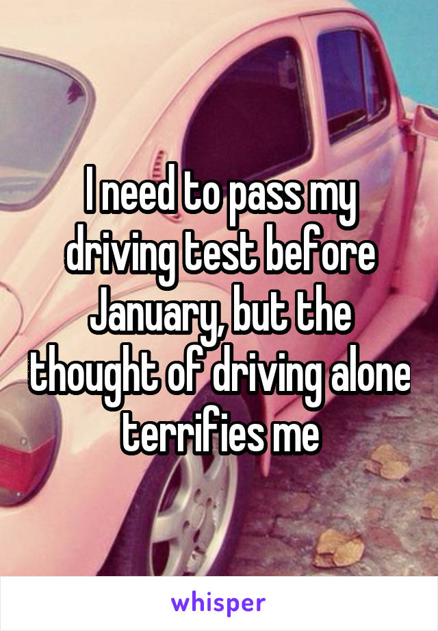 I need to pass my driving test before January, but the thought of driving alone terrifies me
