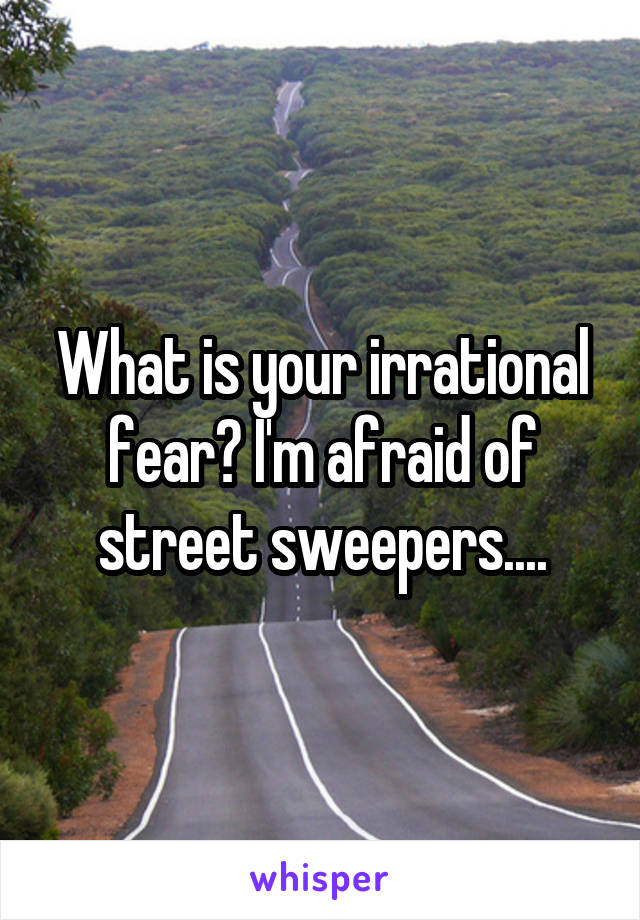 What is your irrational fear? I'm afraid of street sweepers....