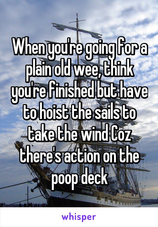 When you're going for a plain old wee, think you're finished but have to hoist the sails to take the wind Coz there's action on the poop deck
