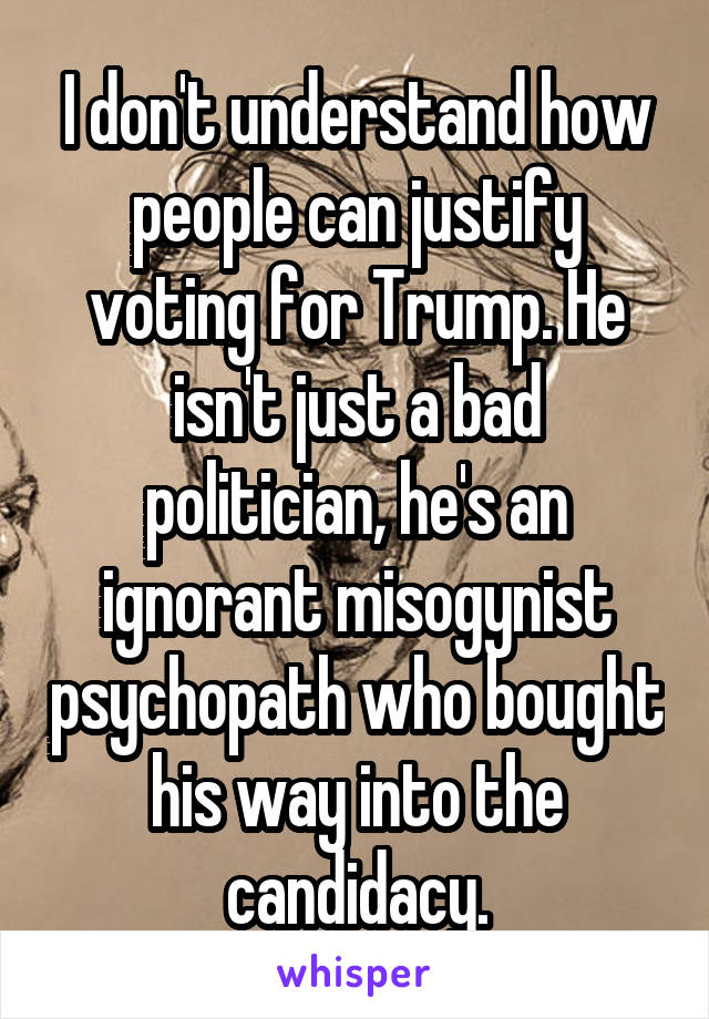 I don't understand how people can justify voting for Trump. He isn't just a bad politician, he's an ignorant misogynist psychopath who bought his way into the candidacy.