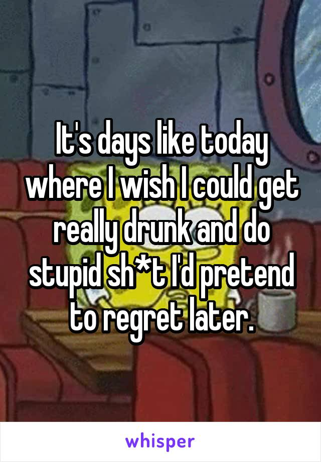 It's days like today where I wish I could get really drunk and do stupid sh*t I'd pretend to regret later.