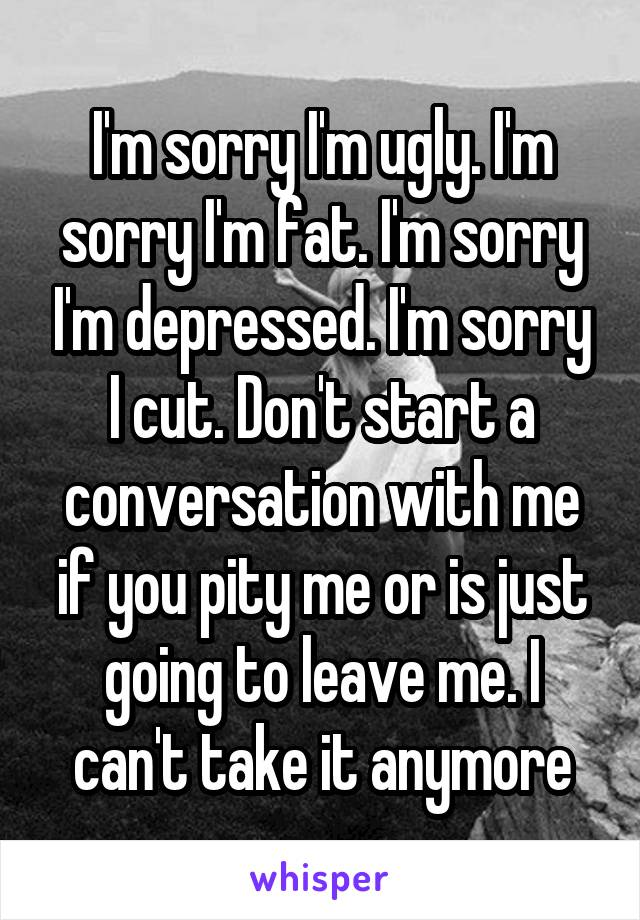 I'm sorry I'm ugly. I'm sorry I'm fat. I'm sorry I'm depressed. I'm sorry I cut. Don't start a conversation with me if you pity me or is just going to leave me. I can't take it anymore