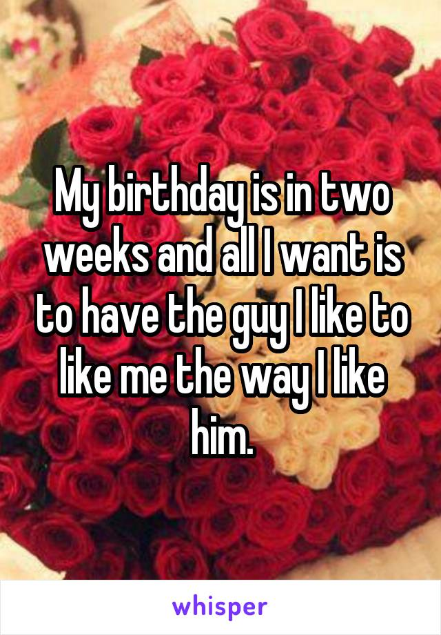 My birthday is in two weeks and all I want is to have the guy I like to like me the way I like him.