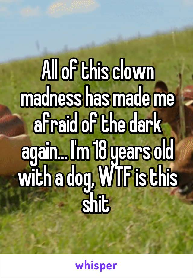 All of this clown madness has made me afraid of the dark again... I'm 18 years old with a dog, WTF is this shit