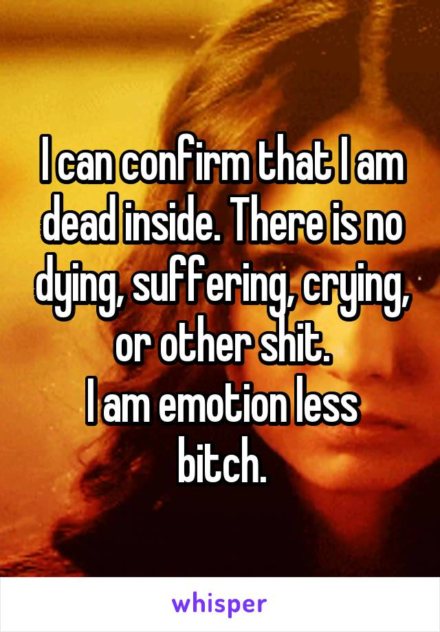 I can confirm that I am dead inside. There is no dying, suffering, crying, or other shit. I am emotion less bitch.