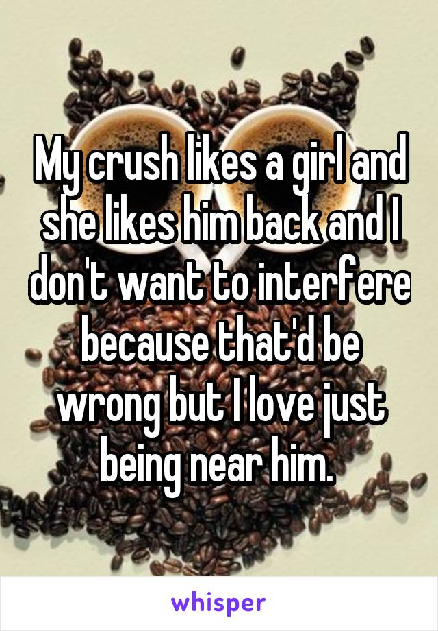 My crush likes a girl and she likes him back and I don't want to interfere because that'd be wrong but I love just being near him.