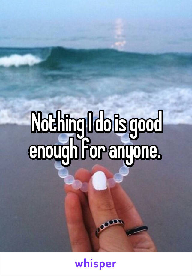Nothing I do is good enough for anyone.