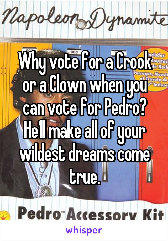 Why vote for a Crook or a Clown when you can vote for Pedro? He'll make all of your wildest dreams come true.