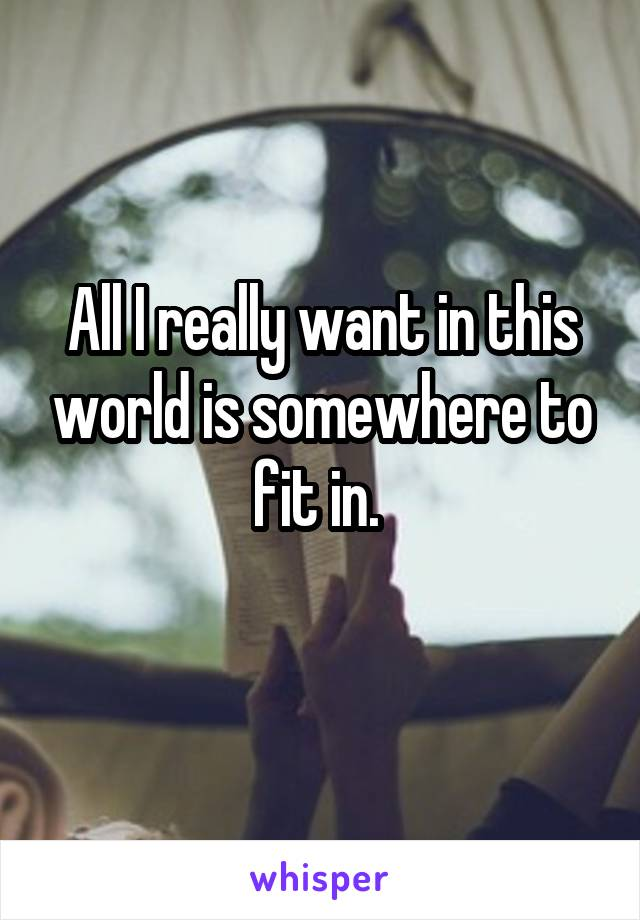 All I really want in this world is somewhere to fit in.