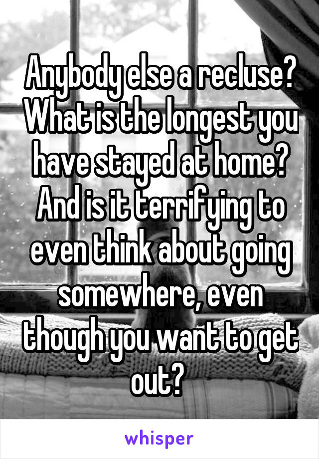Anybody else a recluse? What is the longest you have stayed at home? And is it terrifying to even think about going somewhere, even though you want to get out?