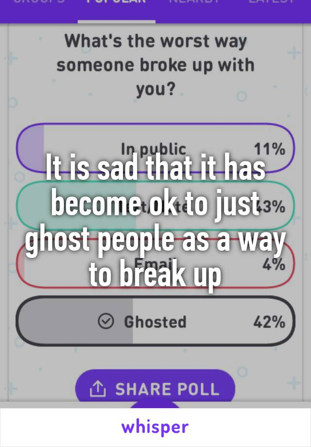 It is sad that it has become ok to just ghost people as a way to break up