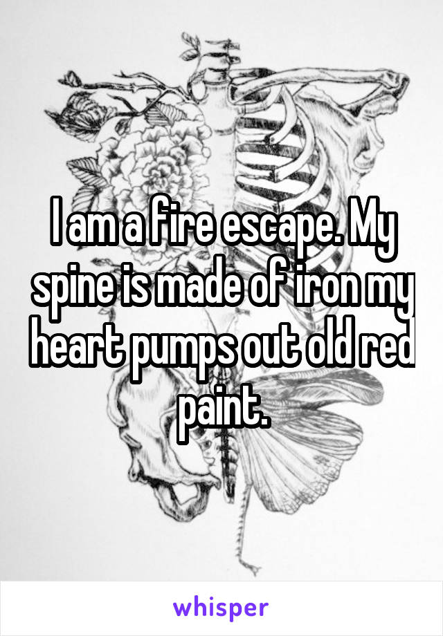 I am a fire escape. My spine is made of iron my heart pumps out old red paint.
