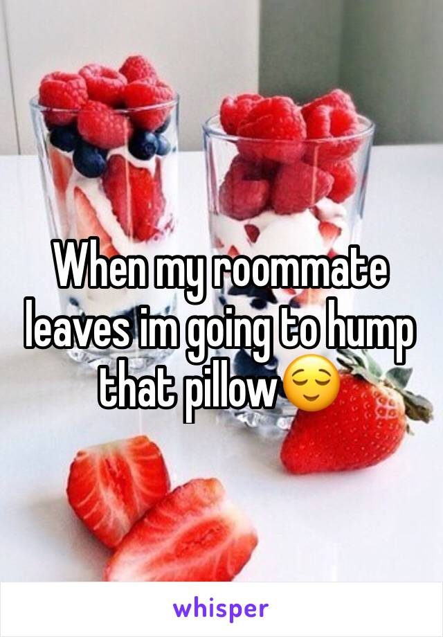 When my roommate leaves im going to hump that pillow😌
