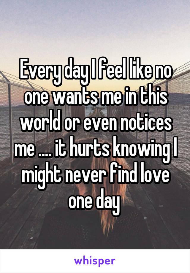 Every day I feel like no one wants me in this world or even notices me .... it hurts knowing I might never find love one day