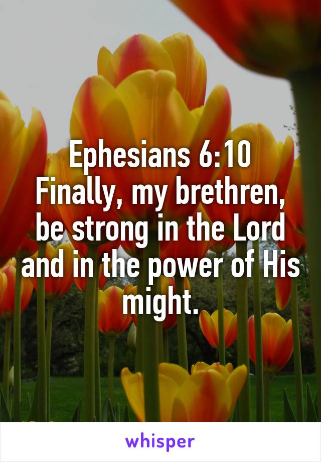 Ephesians 6:10 Finally, my brethren, be strong in the Lord and in the power of His might.