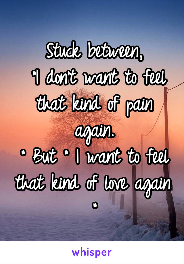 """Stuck between,  """"I don't want to feel that kind of pain again. """" But """" I want to feel that kind of love again. """""""