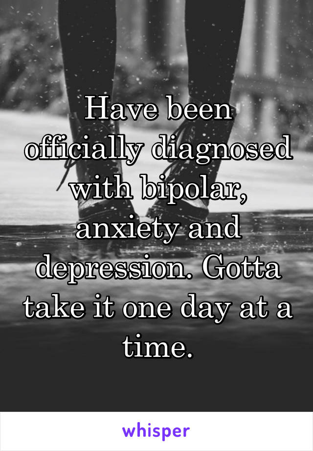 Have been officially diagnosed with bipolar, anxiety and depression. Gotta take it one day at a time.