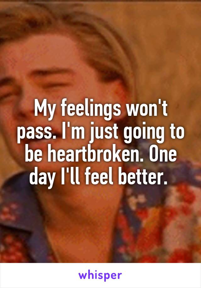 My feelings won't pass. I'm just going to be heartbroken. One day I'll feel better.