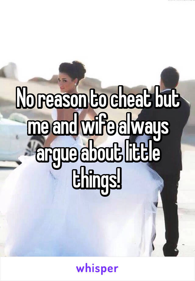 No reason to cheat but me and wife always argue about little things!