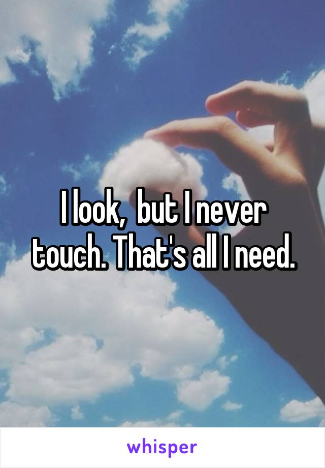 I look,  but I never touch. That's all I need.