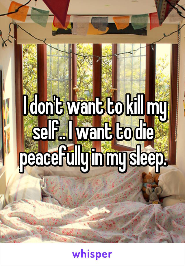 I don't want to kill my self.. I want to die peacefully in my sleep.