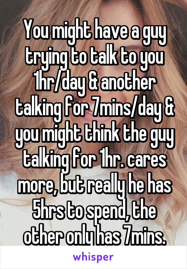 You might have a guy trying to talk to you 1hr/day & another talking for 7mins/day & you might think the guy talking for 1hr. cares more, but really he has 5hrs to spend, the other only has 7mins.