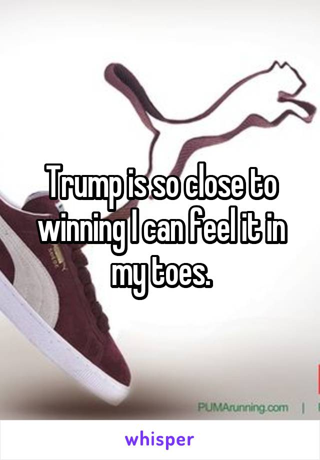 Trump is so close to winning I can feel it in my toes.