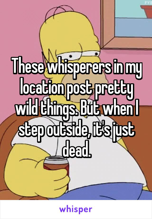 These whisperers in my location post pretty wild things. But when I step outside, it's just dead.