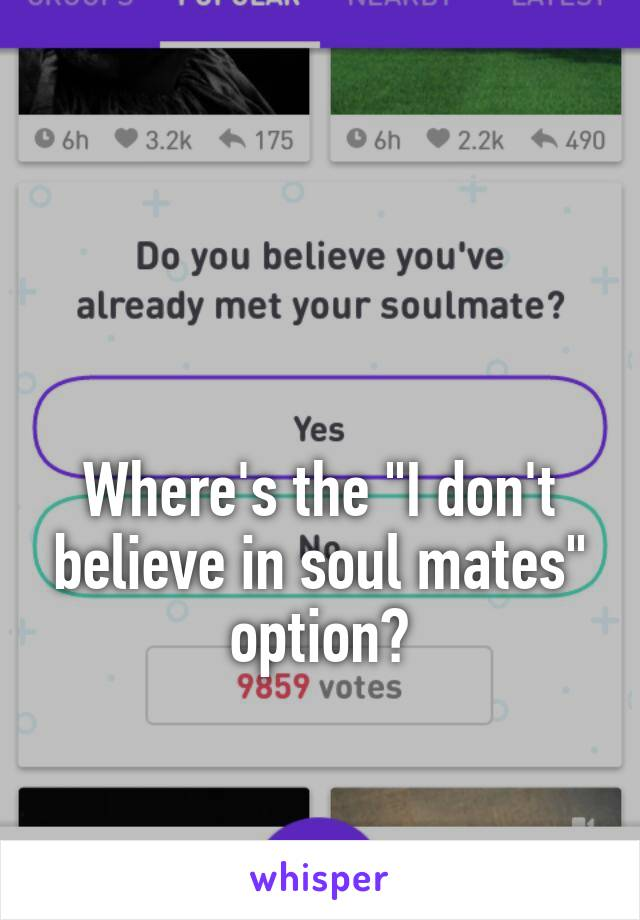 """Where's the """"I don't believe in soul mates"""" option?"""