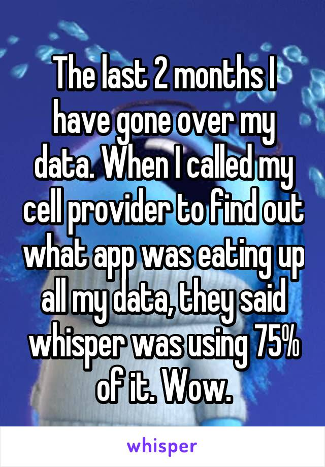 The last 2 months I have gone over my data. When I called my cell provider to find out what app was eating up all my data, they said whisper was using 75% of it. Wow.