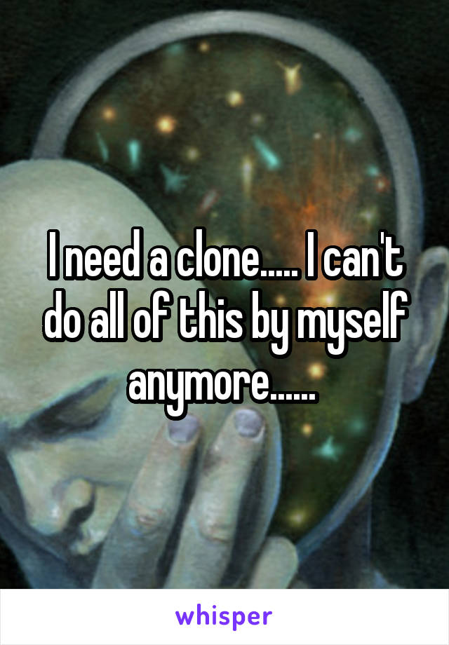 I need a clone..... I can't do all of this by myself anymore......
