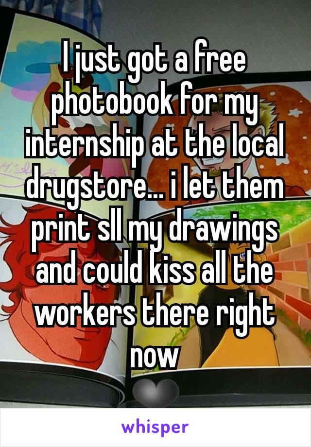 I just got a free photobook for my internship at the local drugstore... i let them print sll my drawings and could kiss all the workers there right now ❤