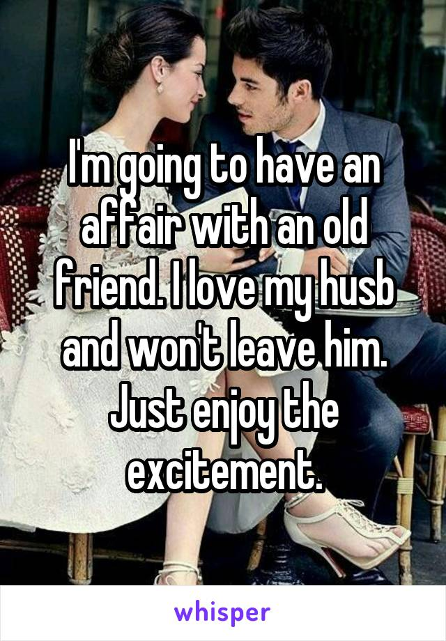 I'm going to have an affair with an old friend. I love my husb and won't leave him. Just enjoy the excitement.