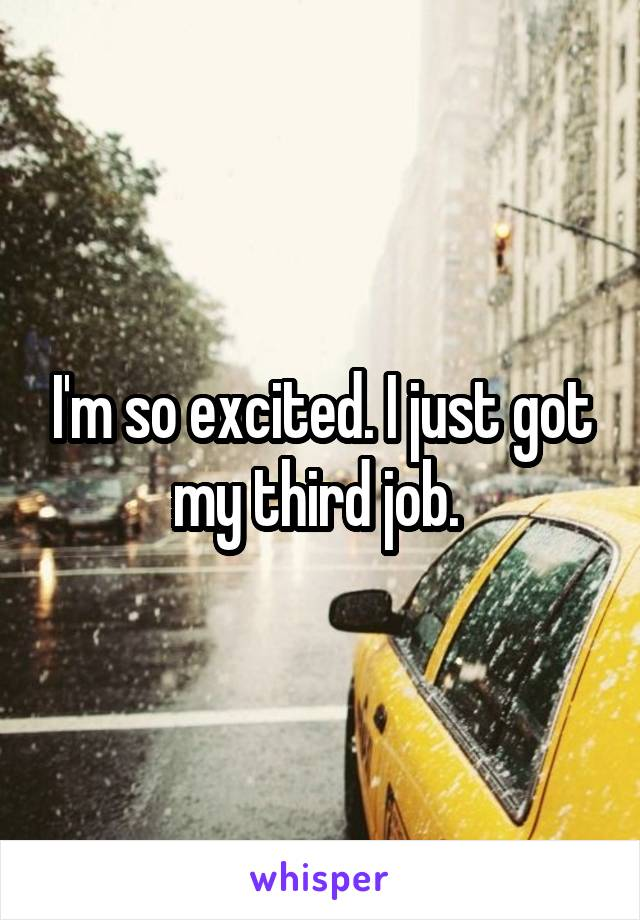 I'm so excited. I just got my third job.