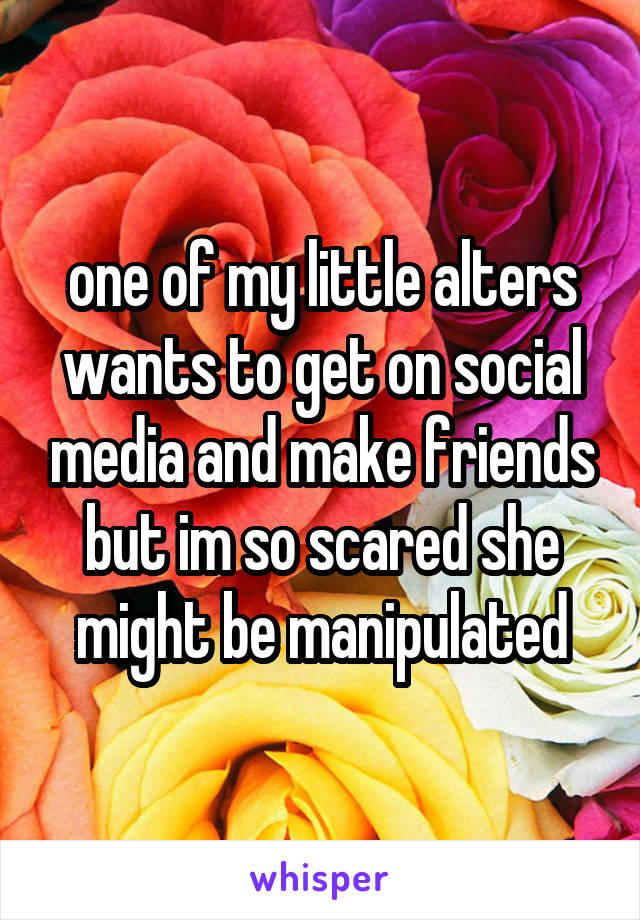 one of my little alters wants to get on social media and make friends but im so scared she might be manipulated