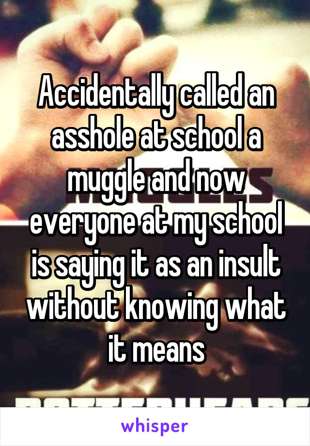 Accidentally called an asshole at school a muggle and now everyone at my school is saying it as an insult without knowing what it means