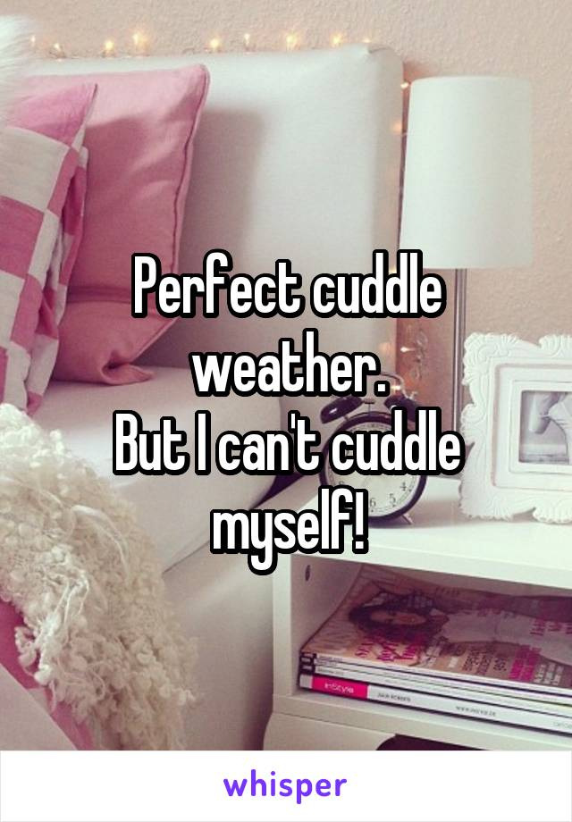 Perfect cuddle weather. But I can't cuddle myself!