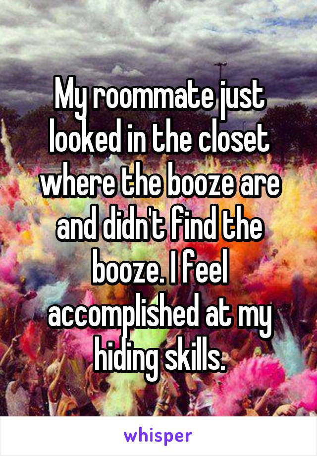 My roommate just looked in the closet where the booze are and didn't find the booze. I feel accomplished at my hiding skills.