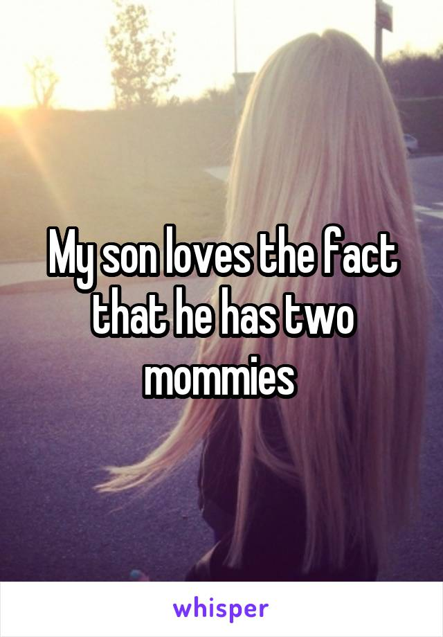 My son loves the fact that he has two mommies
