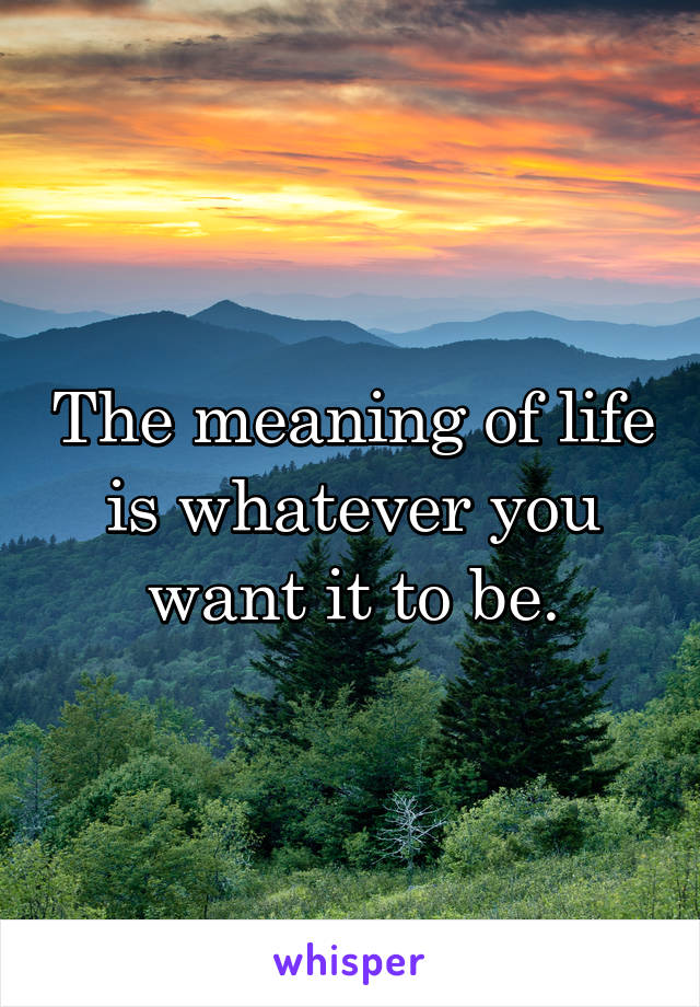 The meaning of life is whatever you want it to be.