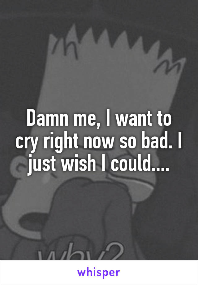 Damn me, I want to cry right now so bad. I just wish I could....