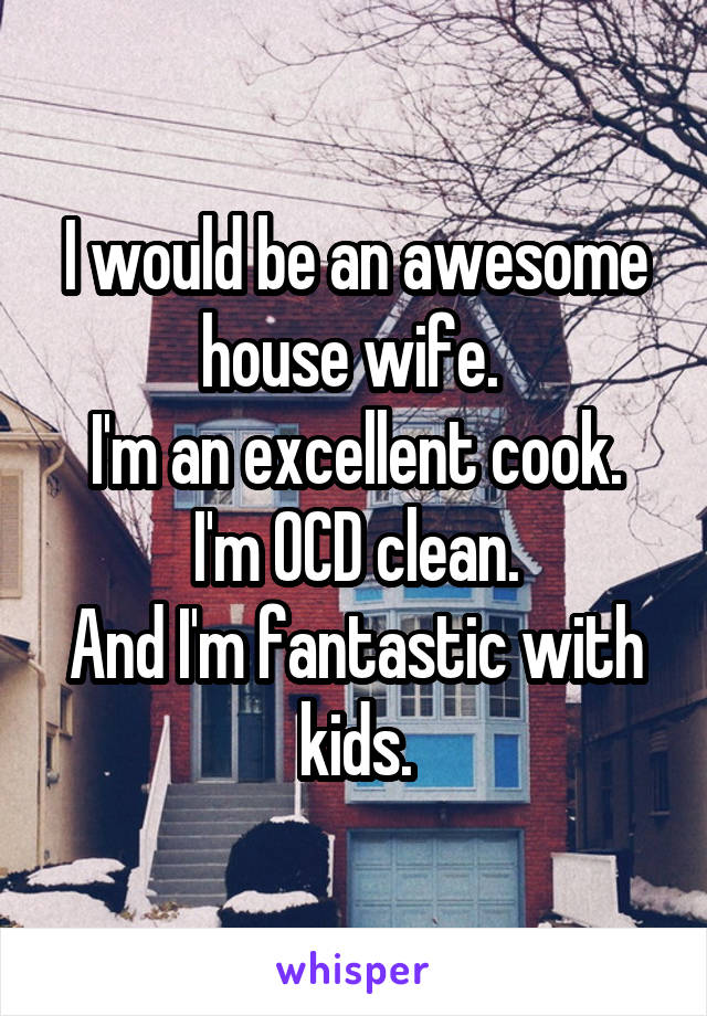 I would be an awesome house wife.  I'm an excellent cook. I'm OCD clean. And I'm fantastic with kids.