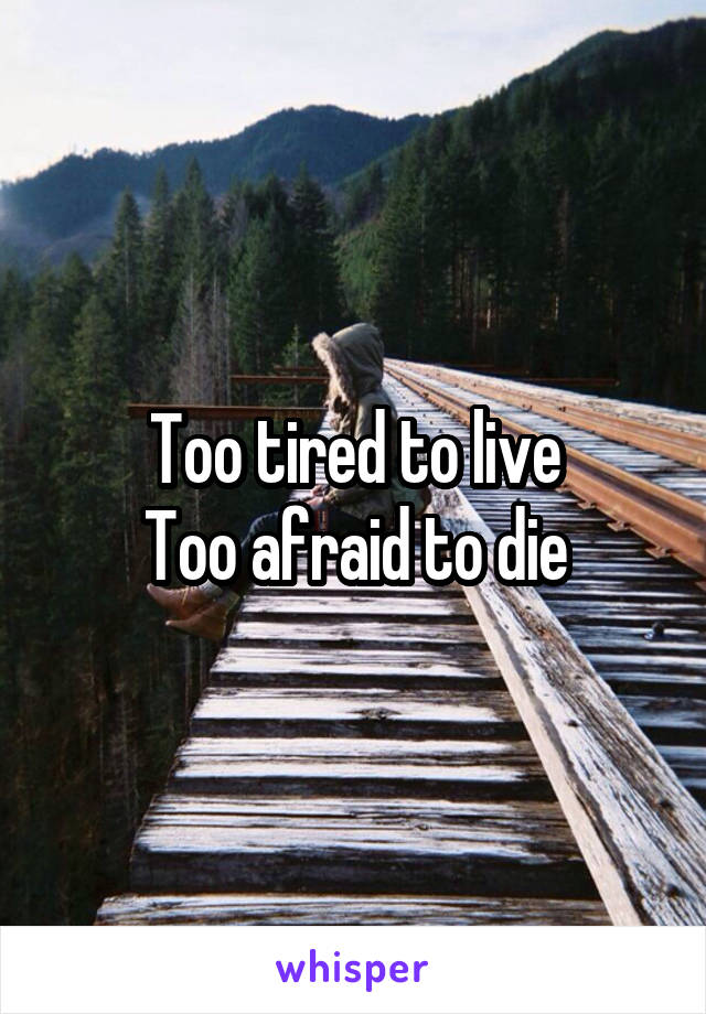 Too tired to live Too afraid to die