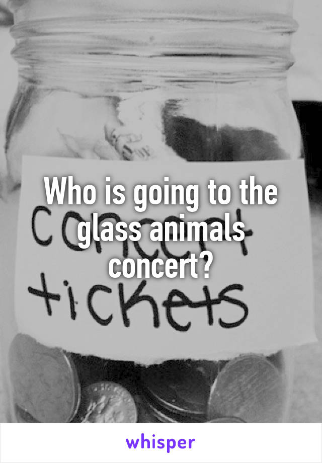Who is going to the glass animals concert?