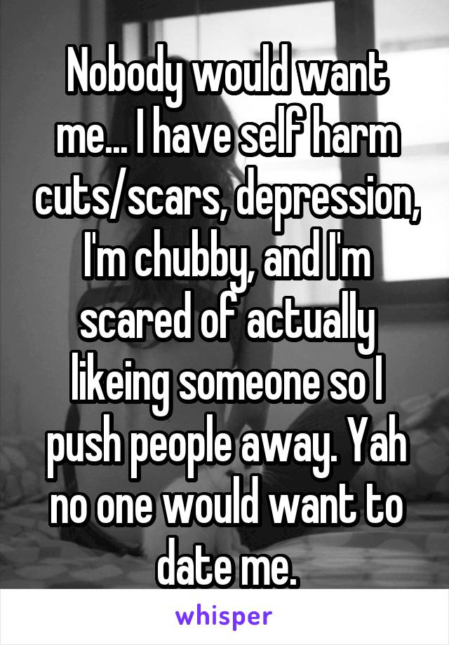 Nobody would want me... I have self harm cuts/scars, depression, I'm chubby, and I'm scared of actually likeing someone so I push people away. Yah no one would want to date me.